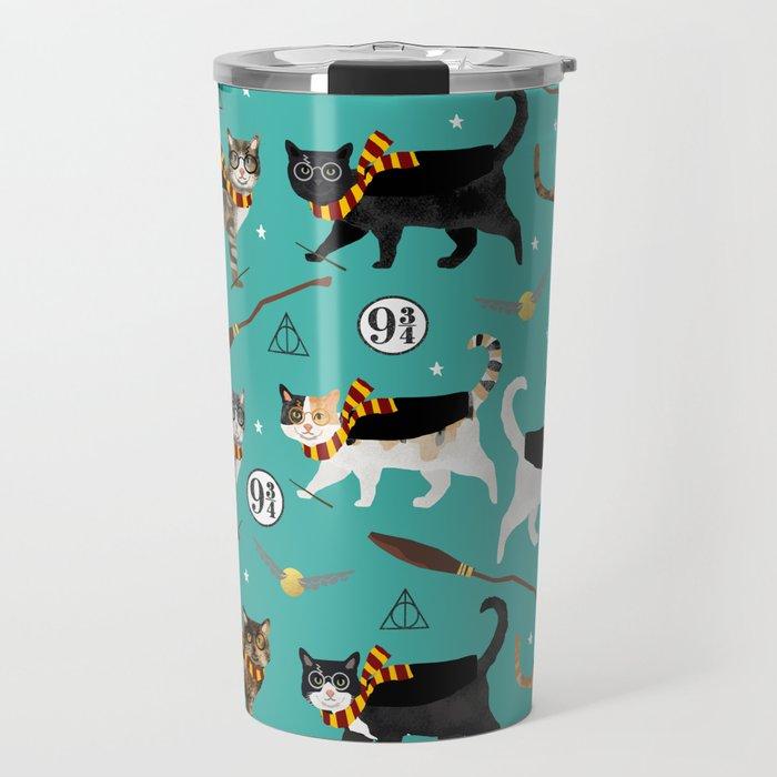 Cat wizard cats magic school pattern Travel Mug