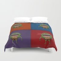 turtles Duvet Covers featuring Screaming Turtles by That Design Bastard