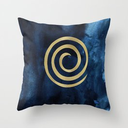 Infinity Navy Blue And Gold Abstract Modern Art Painting Throw Pillow