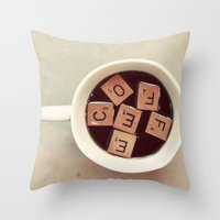 coffee Throw Pillows featuring COFFEE by elle moss