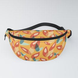 Orange Blue Yellow Abstract Autumn Leaves Pattern Fanny Pack