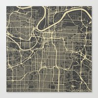 kansas city Canvas Prints featuring Kansas City map by Map Map Maps