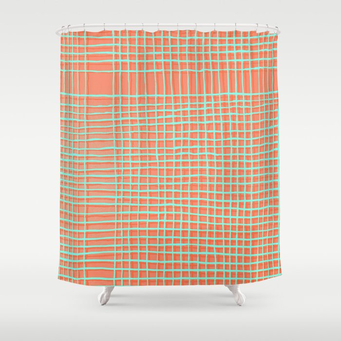 Left - Orange and green Shower Curtain