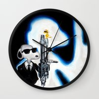 snoopy Wall Clocks featuring MIB Snoopy by Karmaela.com