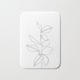 One line minimal plant leaves drawing - Birdie Bath Mat