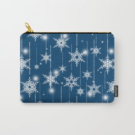 Christmas pattern. White snowflakes on a blue background. Carry-All Pouch
