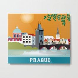 Prague, Czech Republic - Skyline Illustration by Loose Petals Metal Print