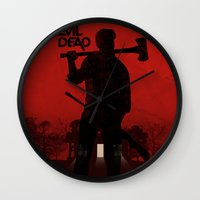 evil dead Wall Clocks featuring The Evil Dead by Bill Pyle