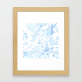 White Marble with Pastel Blue Purple Teal Glitter Framed Art Print