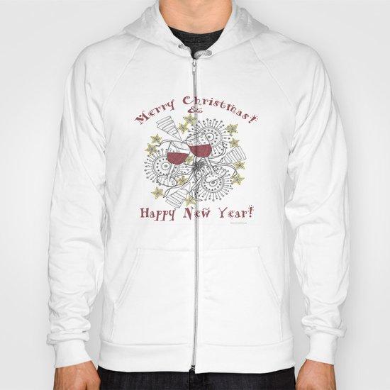 Merry Christmas & Happy New Year - Zentangle Illustration Hoody