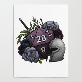Fighter Class D20 - Tabletop Gaming Dice Poster