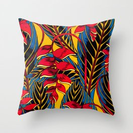 Jungle Glam Falling Leaves Blue Gold Throw Pillow