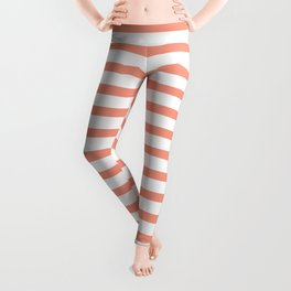 Seamless coral striped pattern on white Leggings