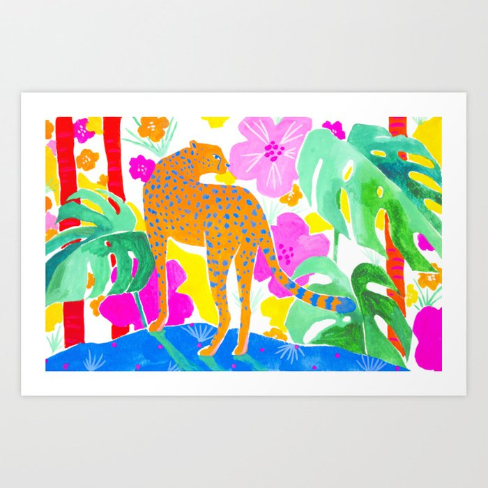 Jaguar in Tropical Garden Art Print