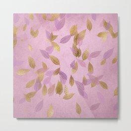 Purple Gold Leaves Metal Print