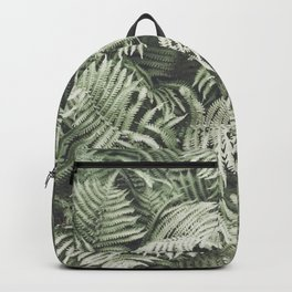 Fern Pattern Dull Green Print Backpack
