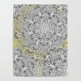 Yellow & White Mandalas on Grey Poster