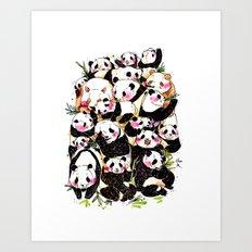 Wild Family Series - Afternoon Tea Panda Art Print