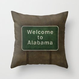 Alabama roadside sign illustration, with distressed ominous background Throw Pillow