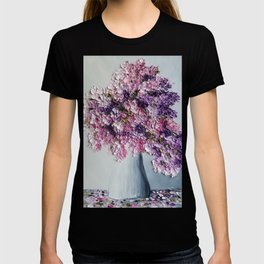 Pretty in Pink and Purple Hydrangeas on White T-shirt