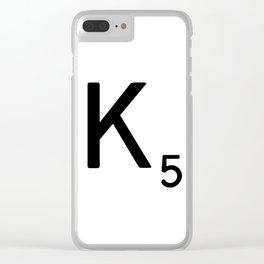 Letter K - Custom Scrabble Letter Tile Art - Scrabble K Clear iPhone Case