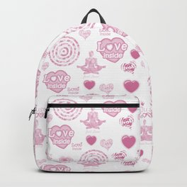 Vintage set of pink  hearts and symbols for valentines day Backpack