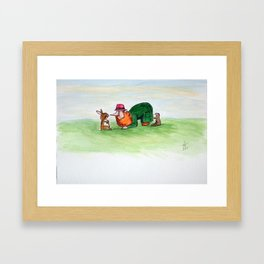 Eye to eye Leprechaun and Rabbit Framed Art Print