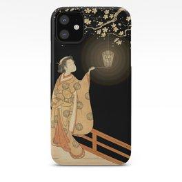 Japanese Cherry Blossom Japanese Woodblock Art Print Night Lamp iPhone Case