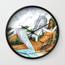 PNW Fishnets - Earth and Sky Goddess Kiss Painting Wall Clock