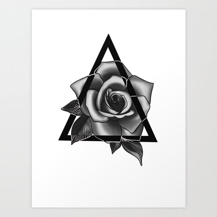 Rose Tattoo Design Art Print By Ellarosestudio Society6