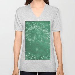 Elegant green white abstract starry Christmas pattern Unisex V-Neck