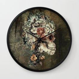 Skull on old grunge Wall Clock
