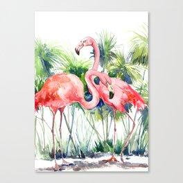Flamingo Flamingos and Papyrus, flamingo lover pink green art Canvas Print