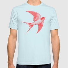 Barn Swallow (red) Light Blue LARGE Mens Fitted Tee