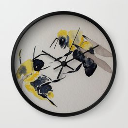 Water colour bees Wall Clock