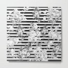 Elegant black white vintage floral modern stripes Metal Print