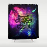 nietzsche Shower Curtains featuring Beyond Good n Evil by orangpalsu