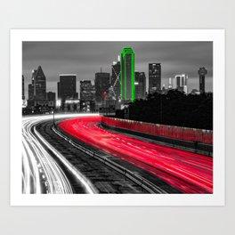 Moving Through Dallas Texas - Selective Color 1x1 Art Print