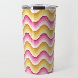 Bargello waves golden yellow pink Travel Mug