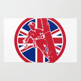 British Linesman Union Jack Flag Icon Rug