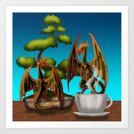 Hot Coffee with Bonsai and Fire Dragons Art Print