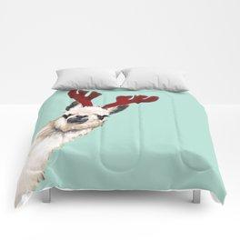 Llama Reindeer in Green Comforters