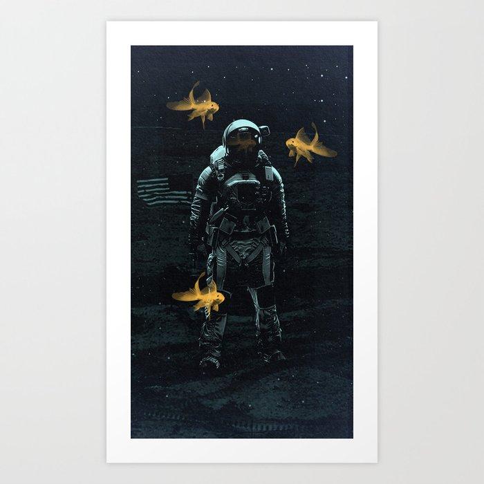 Space goldfish Art Print