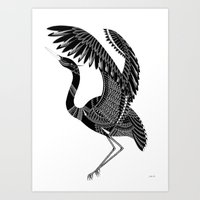 crane Art Prints featuring Crane by By Stine Lee
