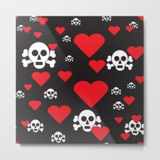 Skulls and Hearts Metal Print