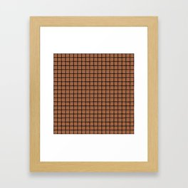 Geometric raster minimal raw brush strokes grid pattern copper Framed Art Print