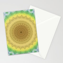 Tie Dye Sunflower Cloth Woven Sun Ray Pattern \\ Yellow Green Blue Purple Color Scheme Stationery Cards