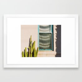 Cactus and Window Framed Art Print