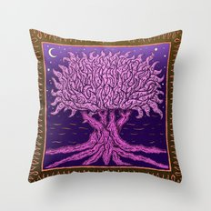 ombo pink tree of life Throw Pillow