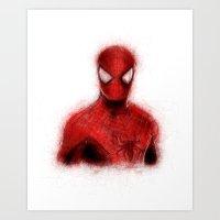 spider man Art Prints featuring Spider-Man by KitschyPopShop